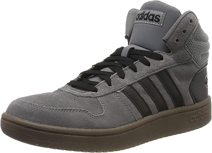 adidas Hoops 2.0 Mid Sneakers Basketball Schuhe Herren Grau mit schwarzen Streifen
