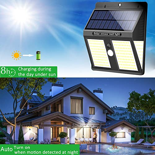 UniqueFire Solar Lights Outdoor, Super Bright 250 LEDs Wireless Waterproof Security Solar Motion Sensor Lights, for Outdoor Patio, Garden, Deck, Yard, Drive, Outside Wall, Fence etc 2 Packs