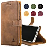 Snakehive iPhone 8 Case, Genuine Leather Wallet with Viewing Stand and Card Slots, Flip Cover Gift Boxed and Handmade in Europe for iPhone 8 - (Brown)
