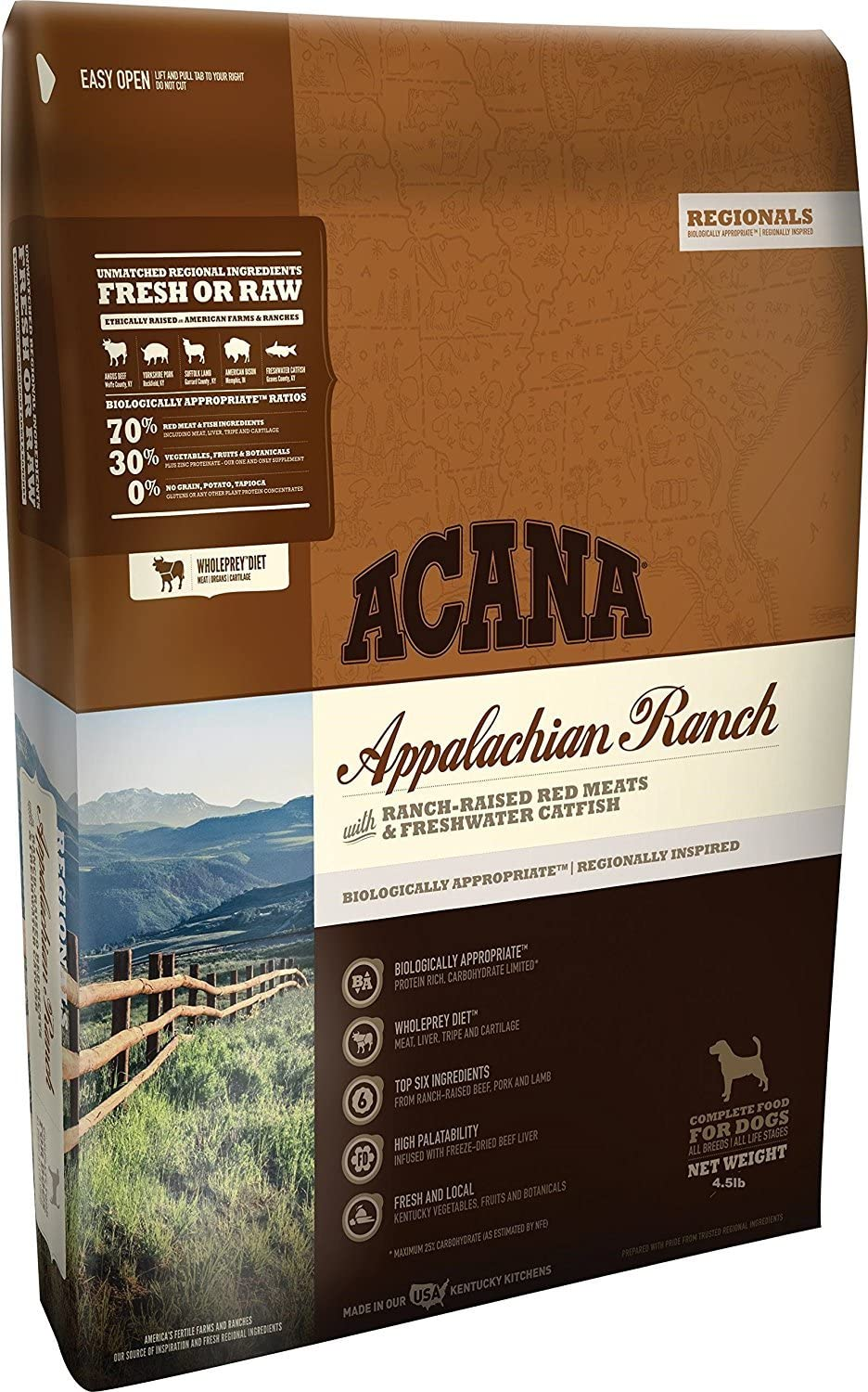 ACANA Appalachian Ranch Dry Dog Food with Red Meats & Fresh Water Cat-Fish 4.5# Bag