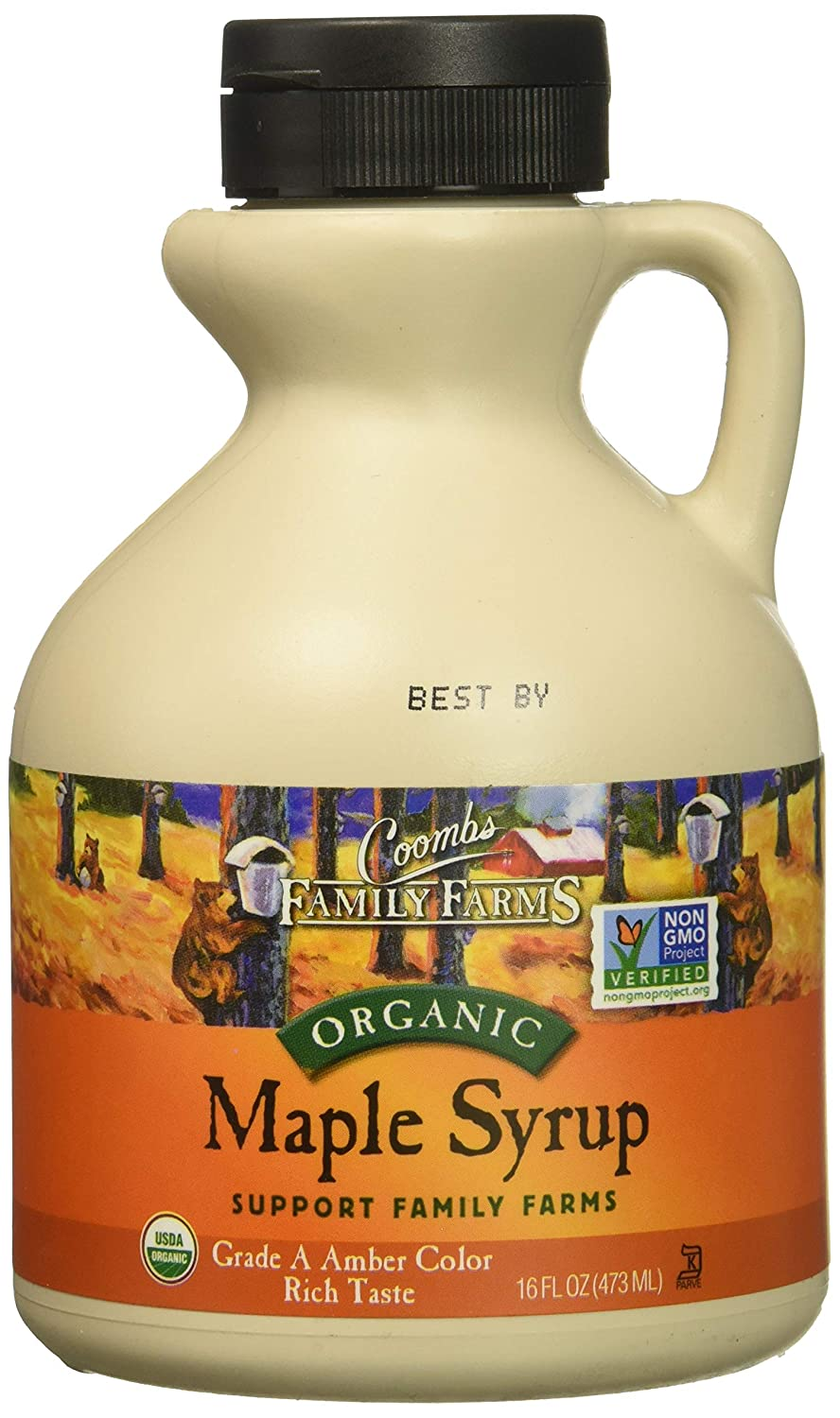 Coombs Family Farms Organic Maple Syrup, Grade A Amber Color, Rich Taste, 16 Fl Oz