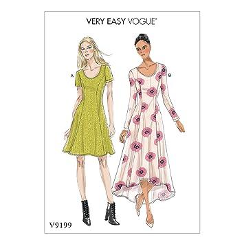 Vogue Mustern 9199 E5 Damen Kleid, Tissue, mehrfarbig, Größen 14–22