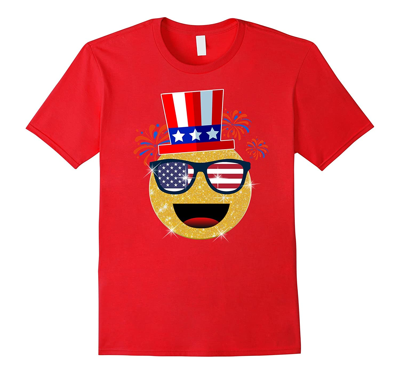 4th of July Emoji T-Shirt Sunglasses emoji shirt for Kids-TH