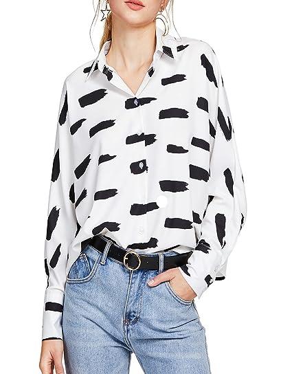 e5fbb671 Verdusa Women's Striped Chest Pocket Button-Down Blouse Shirt