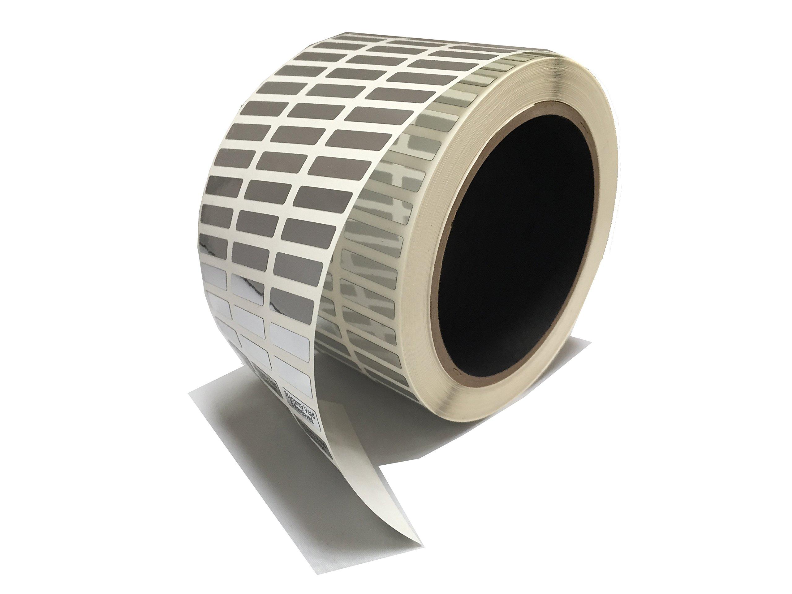 1,000 Silver Bright - Foil TamperVoid Tamper Evident Security Label Seal Sticker, Rectangle 0.75'' x 0.25'' (19mm x 6mm).