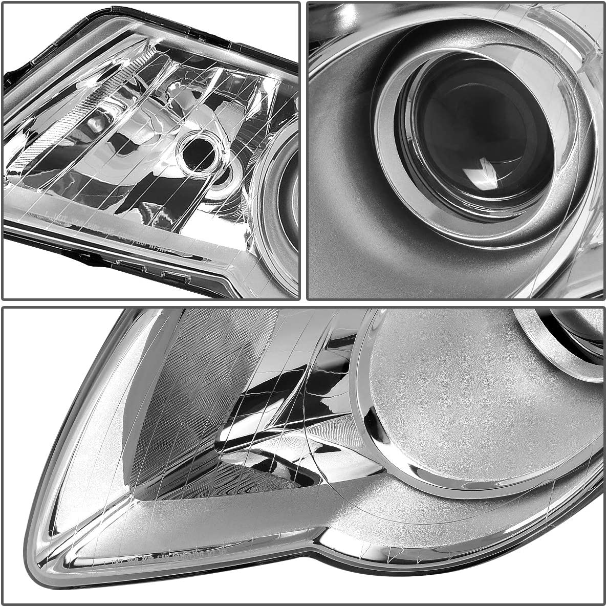 DNA Motoring Chrome clear HL-OH-VPA06-CH-CL1 Pair OE Style Projector Headlight//Lamps Replacement