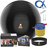 Exercise Ball Yoga Balance Balls | Fitness Exercise Equipment Set: Professional Core Strength Swiss Stability Anti-burst Tested Ball for Home, Office & Gym with Foot Pump & Workout Guide