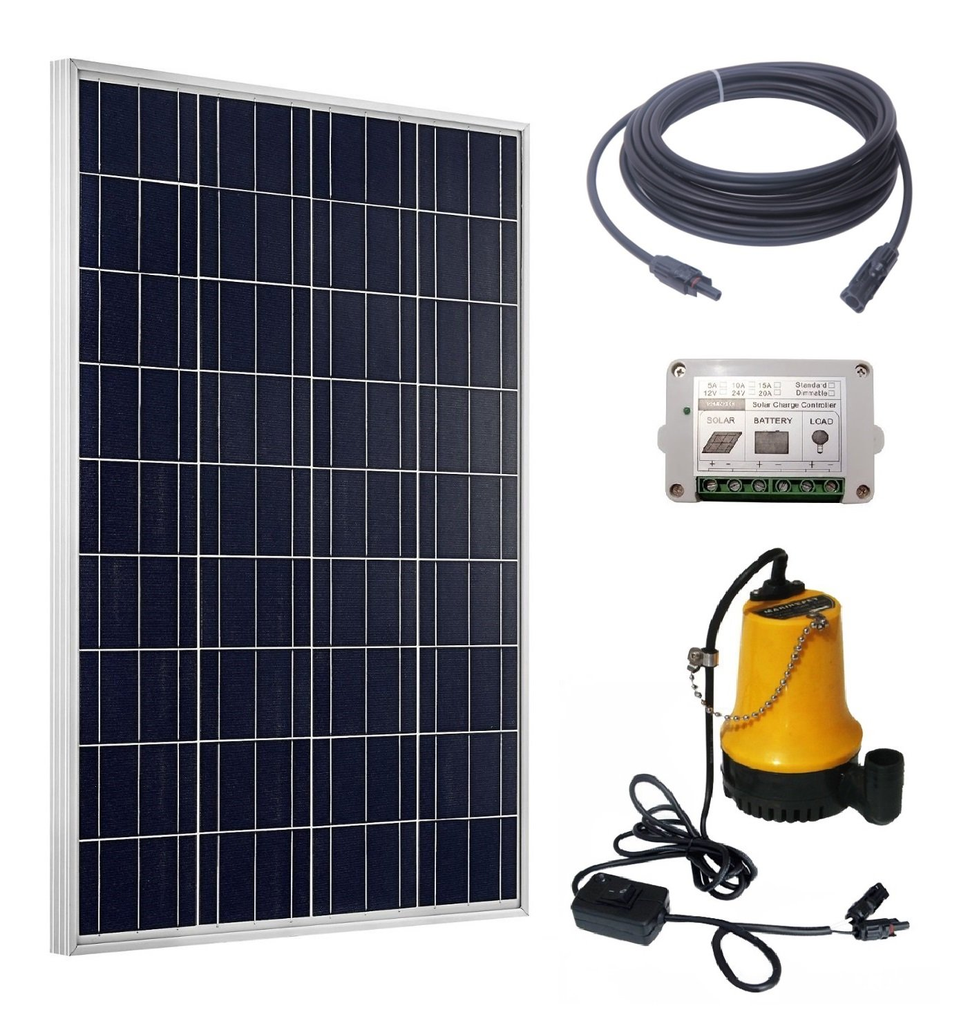 ECO-WORTHY Solar Pump Complete Kit: 100W Poly Solar Panel + 12V Water Pump + 15A Charge Controller + 50Ft Solar Cable Adapter