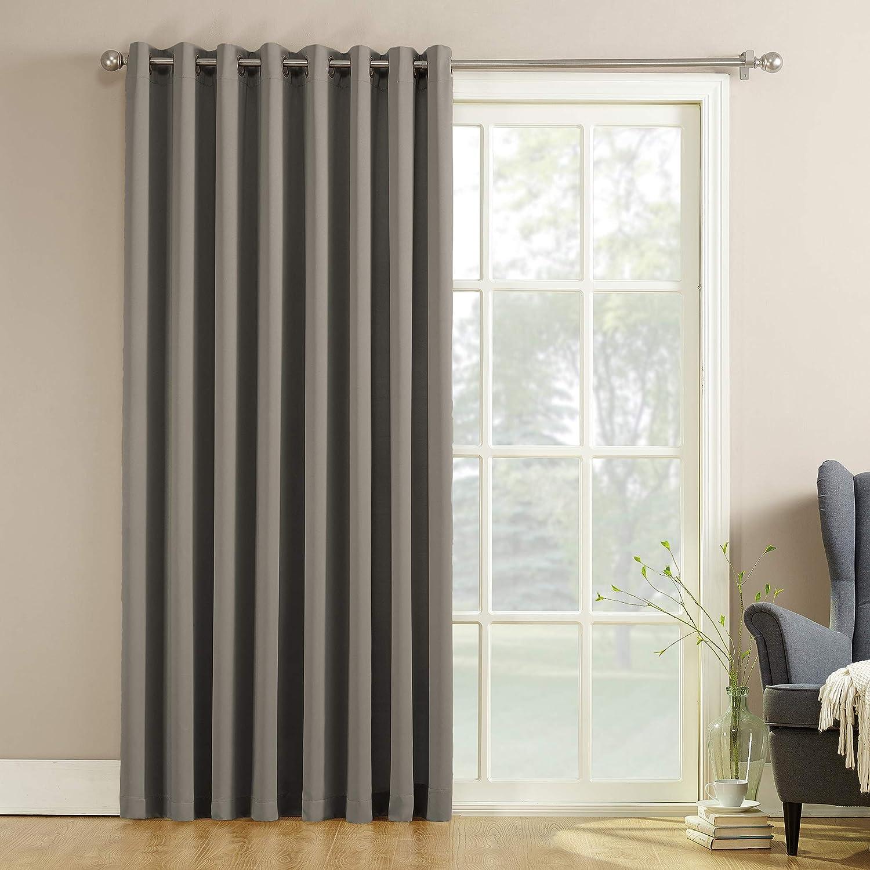 "Sun Zero Barrow Extra-Wide Energy Efficient Sliding Patio Door Curtain Panel with Pull Wand, 100"" x 84"", Gray"