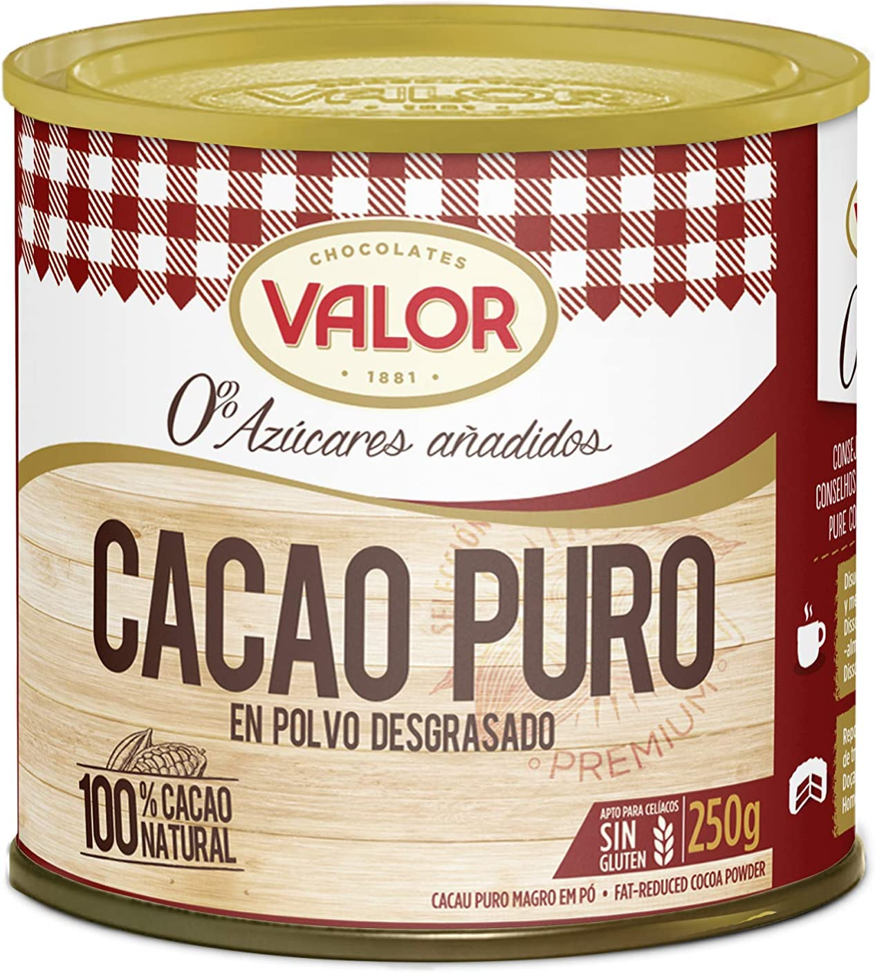 Chocolates Valor - Cacao Puro En Polvo Desgrasado - 250 g: Amazon ...