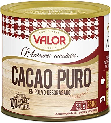 Chocolates Valor - Cacao Puro En Polvo Desgrasado - 250 g: Amazon ...