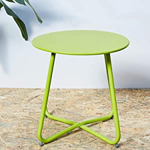 Grand patio Round Metal Side/End Table, Steel Patio Coffee Table for Bistro, Porch, Weather Resistant Outside Table Small (Lime Green)