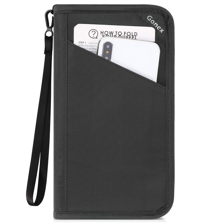 Gonex Passport holder RFID Blocking Travel Wallet with Removable Wristlet Strap for Men& Women, Water-Repellent Gray