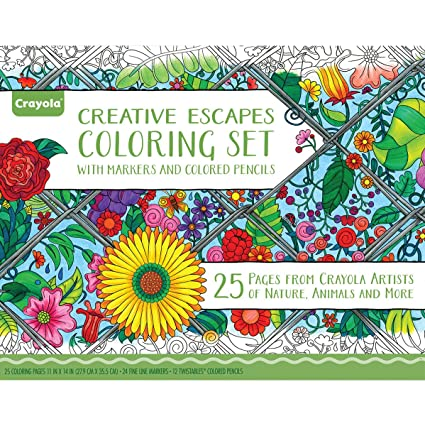 Amazon.com: Crayola Adult Coloring Book & Marker Art Activity Set ...