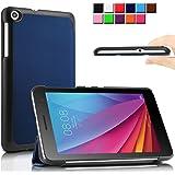 Infiland Huawei MediaPad T1 7.0 タブレット カバー MediaPad T1 7.0 専用保護ケース 超薄型 超軽量 三つ折りスタンドカバー 高級PU レザーケース(ネービーブルー)