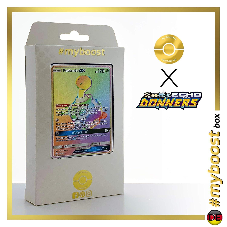 POTTROTT GX 215/214 Trainer Full Art -  myboost X Sonne & Mond 8 Echo des Donners - Box mit 10 Deutschen Pokémon-Karten