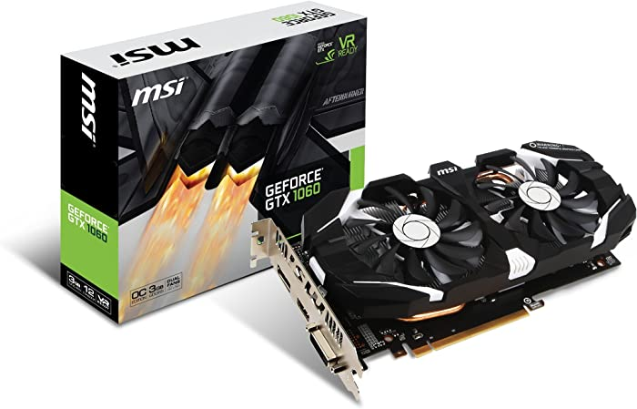 MSI GAMING GeForce GTX 1060 3GB GDRR5 192-bit HDCP Support DirectX 12 Dual Fan VR Ready OC Graphics Card (GTX 1060 3GT OC)