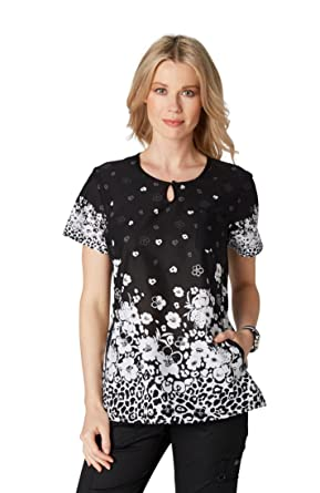de585d23fc408f Image Unavailable. Image not available for. Color: Koi Prints Women's Carly Round  Neck Animal Print Scrub Top ...