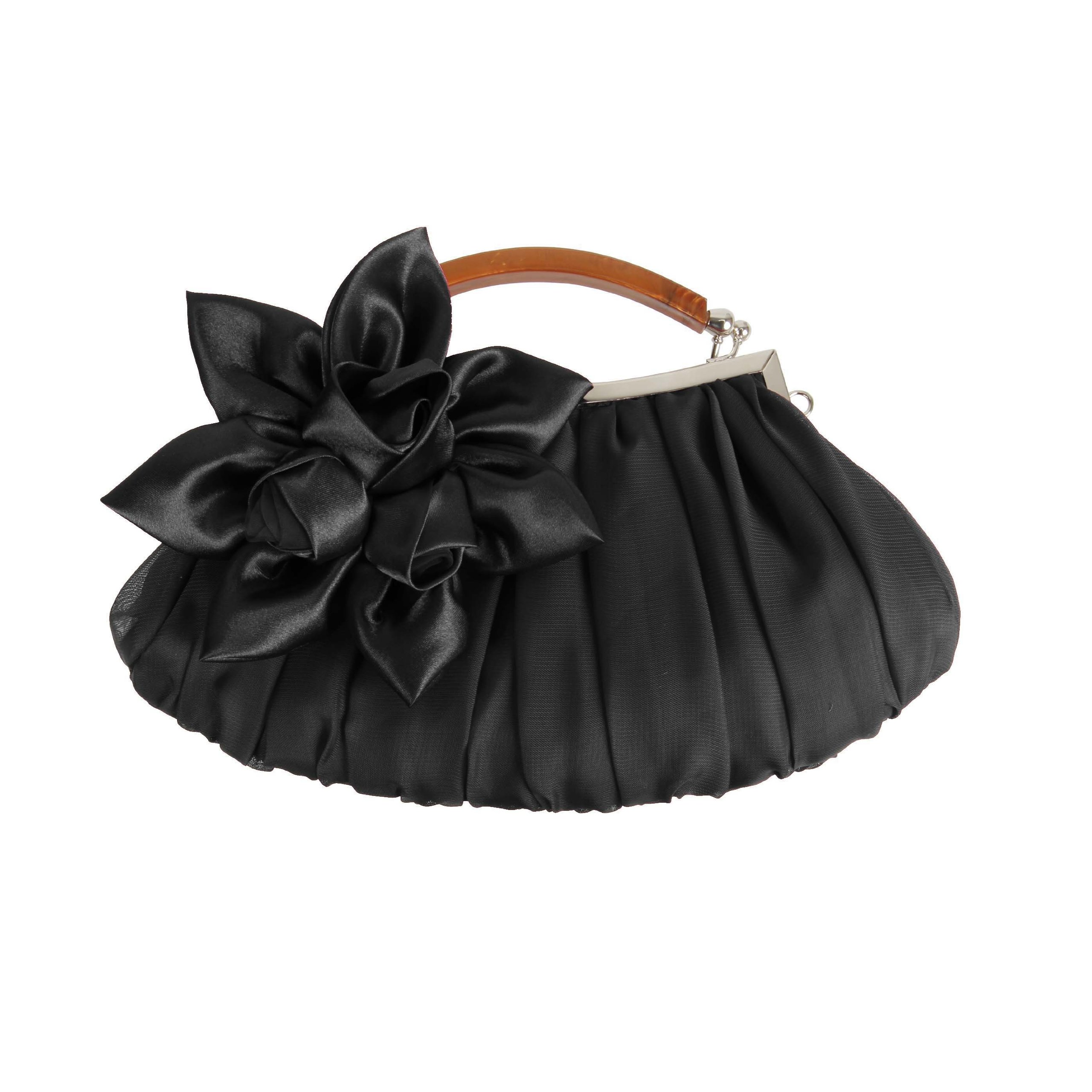 BMC Black Floral Embellished Sheer Chiffon Exterior Kissing Lock Clasp Resin Handle Framed Party Clutch - Evening Out Collection