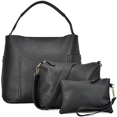 f52b73f256 Amazon.com  3PCS Women Vegan Leather Handbags Designer Hobo Bag Shoulder  Purse Top Handle Tote Work Bag  Shoes