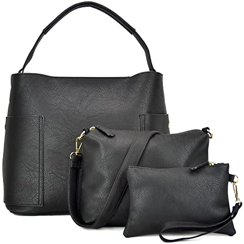 e2e2d4a70e4 3PCS Women Vegan Leather Handbags Designer Hobo Bag Shoulder Purse Top  Handle Tote Work Bag