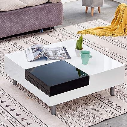 Qihang Uk Modern Coffee Table High Gloss Wooden Square Coffe Table