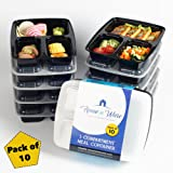 Home n Ware Meal Prep Containers [10 Pack] 3 Compartment with Lids, Food Storage Bento Box | BPAFree | Stackable | Reusable Lunch Boxes, Microwave/Dishwasher/Freezer Safe,Portion Control
