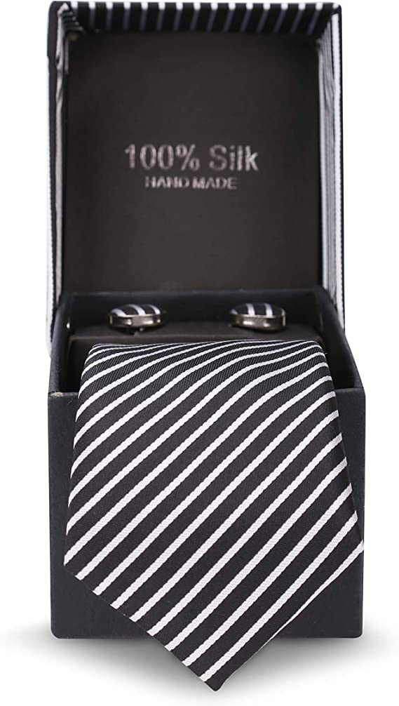 100/% seda caja de regalo LANSILK Men Business Silk Tie Blue White Lattice Slim Skinny Silk Tie 1 gemelos y pa/ñuelo Caja de de corbata de seda delgada de hombre