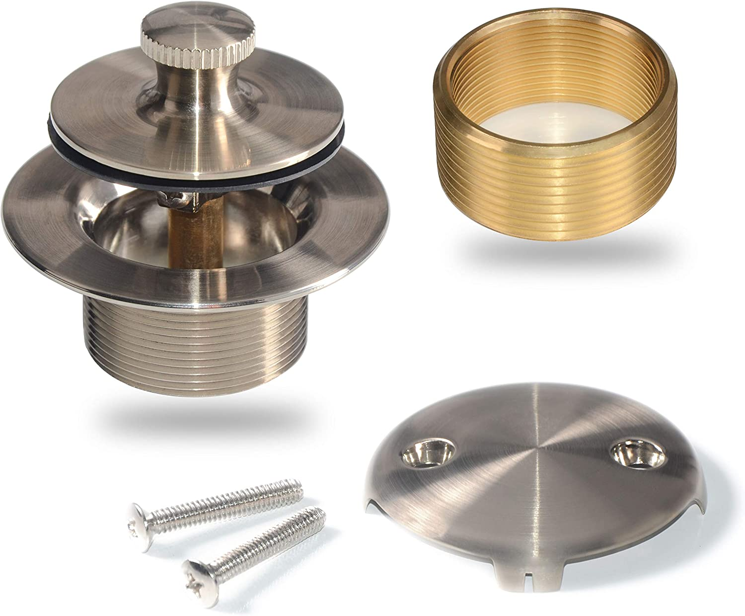 Bathtub Drain Conversion Kit Assembly, Lift and Turn Tub Drain Kit, Brass Construction Easy Installation (Brushed Nickel)