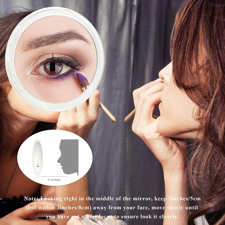 5 pollici Versione aggiornata 2020 specchio con ingrandimento di 20X con tre ventose da utilizzare per applicazioni di trucco 12,5cm, Blu pinzatura e rimozione di punti neri