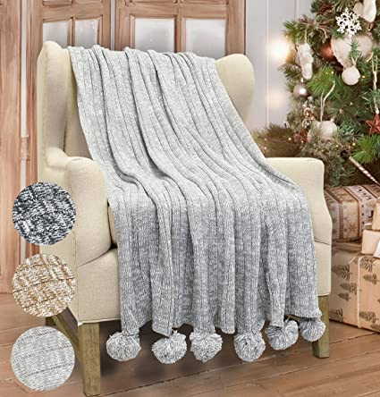 Amazoncom Catalonia Cable Knit Throw Blanket Reversible Soft Pom