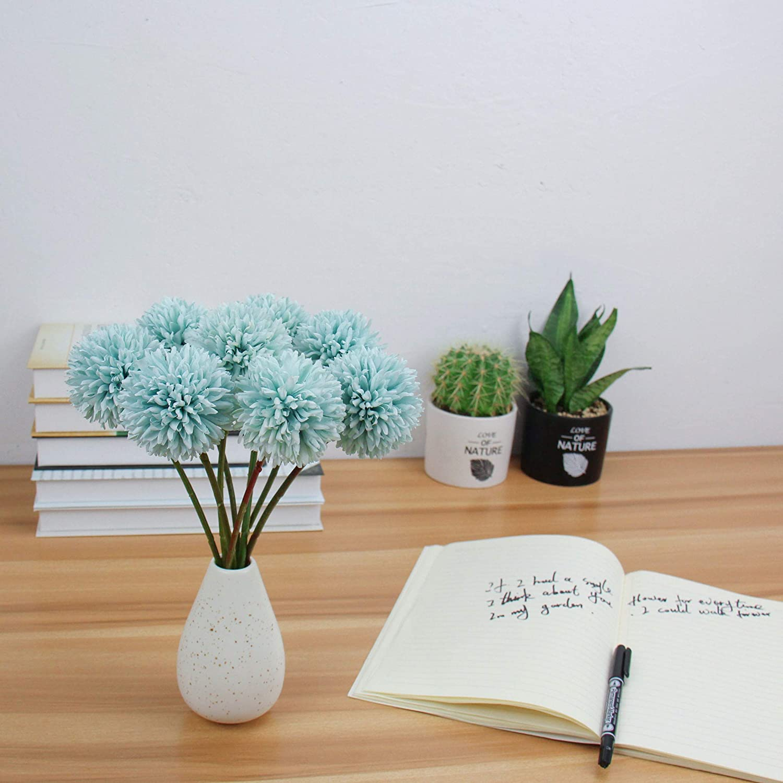 N/&T NIETING Lot de 8 hortensias artificielles en Soie en Plastique pour Bricolage de Demoiselle dhonneur Bouquet de Mariage Maison Jardin Bureau D/écoration de Mariage 13.8X5.5X2.4 Bleu