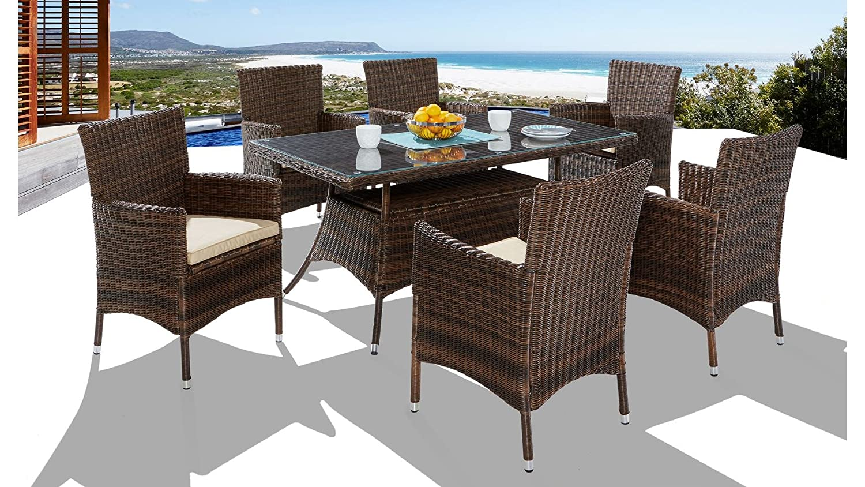 baumarkt direkt 13-tgl. Gartenmöbelset Santiago, 6 Sessel, Tisch 150x80 cm, Polyrattan, braun braun