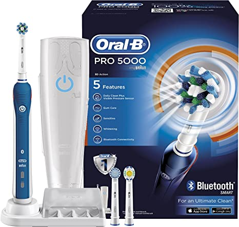 Oral B Pro 5000 Cross Action Electric Rechargeable Toothbrush with Bluetooth Connectivity Powered by Braun