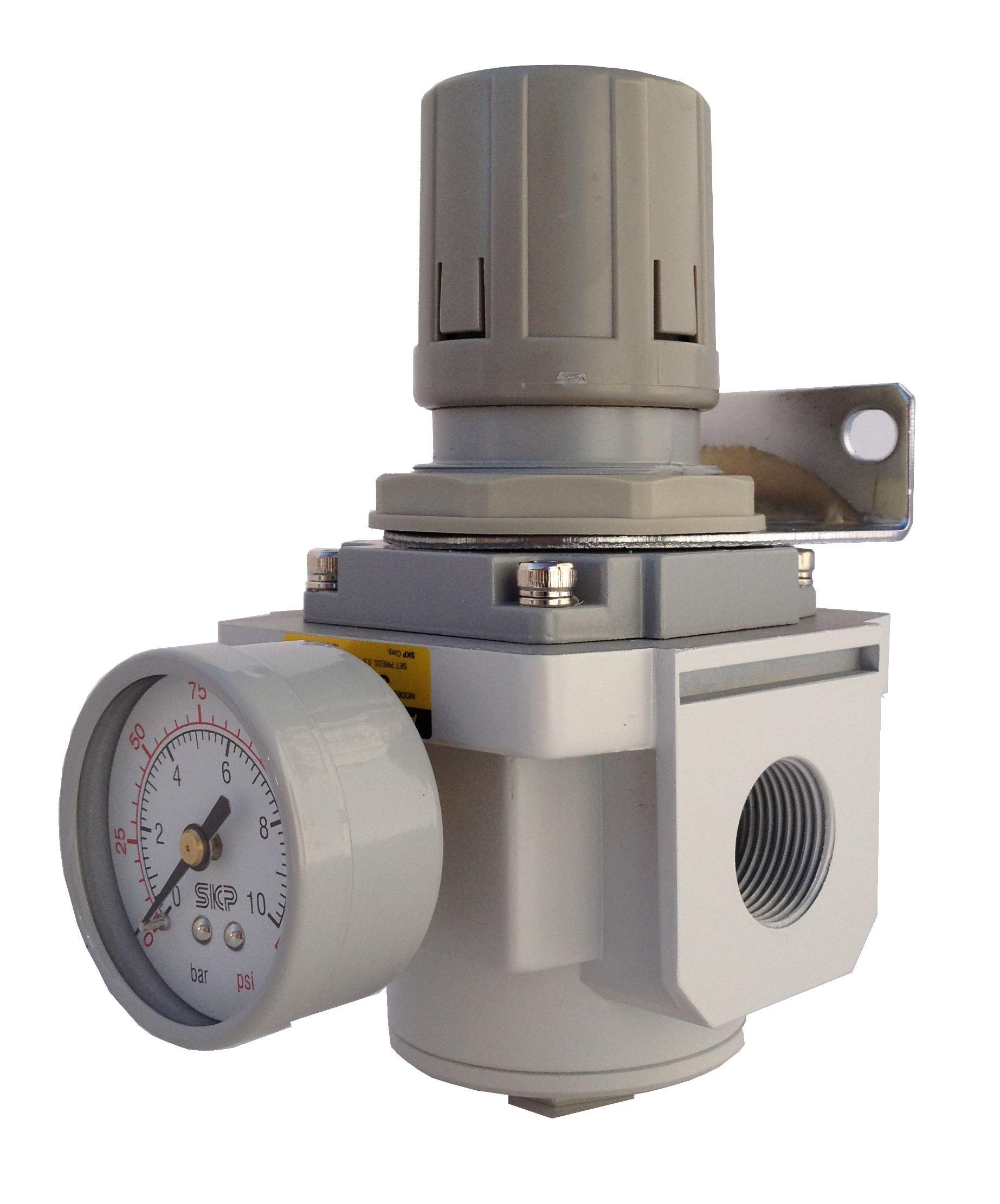 PneumaticPlus SAR3000M-N03BG Air Pressure Regulator, 3/8'' Pipe Size, NPT with Gauge and Bracket by PneumaticPlus