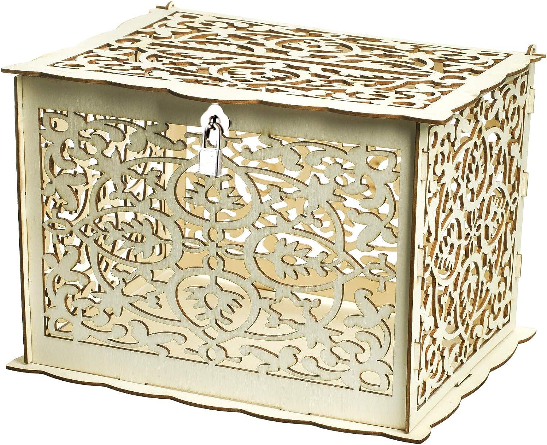 Vlovelife Caja de madera para tarjetas de boda, caja rústica hueca para dinero de boda con cerradura y cartón, colección de cajas de regalo para bodas vintage, decoración de recepciones: Amazon.es: Hogar