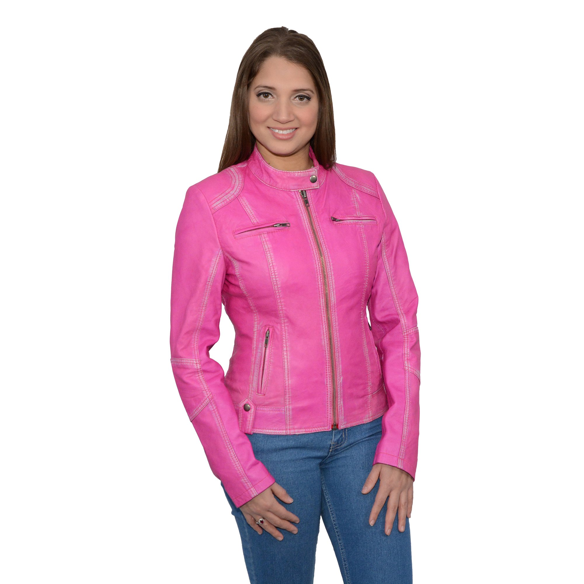 Milwaukee Leather Women's Sheepskin Scuba Style Moto Jacket (Pink, X- Large), 1 Pack