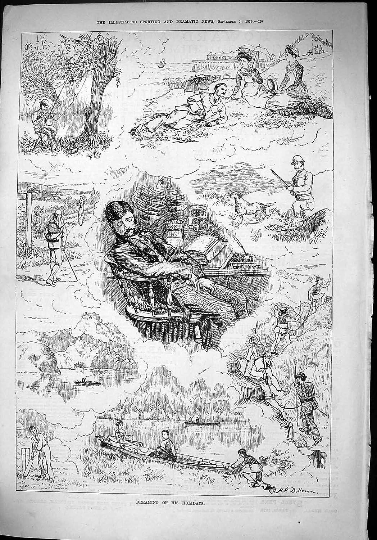1879 Vacances Rêvantes Chassant l'Alpinisme Dollman de Scène de Bord De La Mer de Bateaux