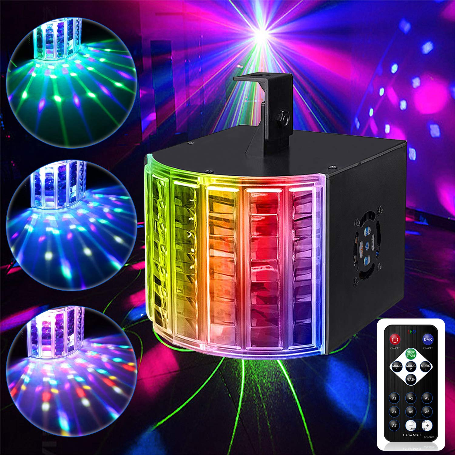 DJ Disco Lights,Ezire LED Party Lights DMX512 Sound Activated Strobe Light Stage Lights with Remote Control for Dance Parties Bar Karaoke Xmas Wedding Show Club by Ezire