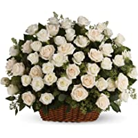 Golden Cart Fresh Flower PREMIUM FLOWER BASKET OF ROSES to Convey that 'special feeling' I Bouquet Basket (21 Fresh Roses, White)