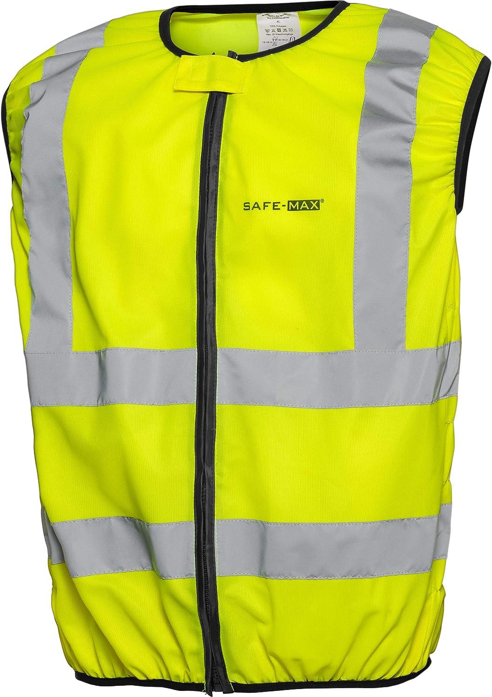 Dehnbare Elemente XXL // 2XL reflektierende Streifen Safe Max/® Sicherheitsweste Warnweste Motorrad Fahrrad gelb Warnweste Motorrad Warnweste mit Rei/ßverschluss M verdeckter Rei/ßverschluss Gelb
