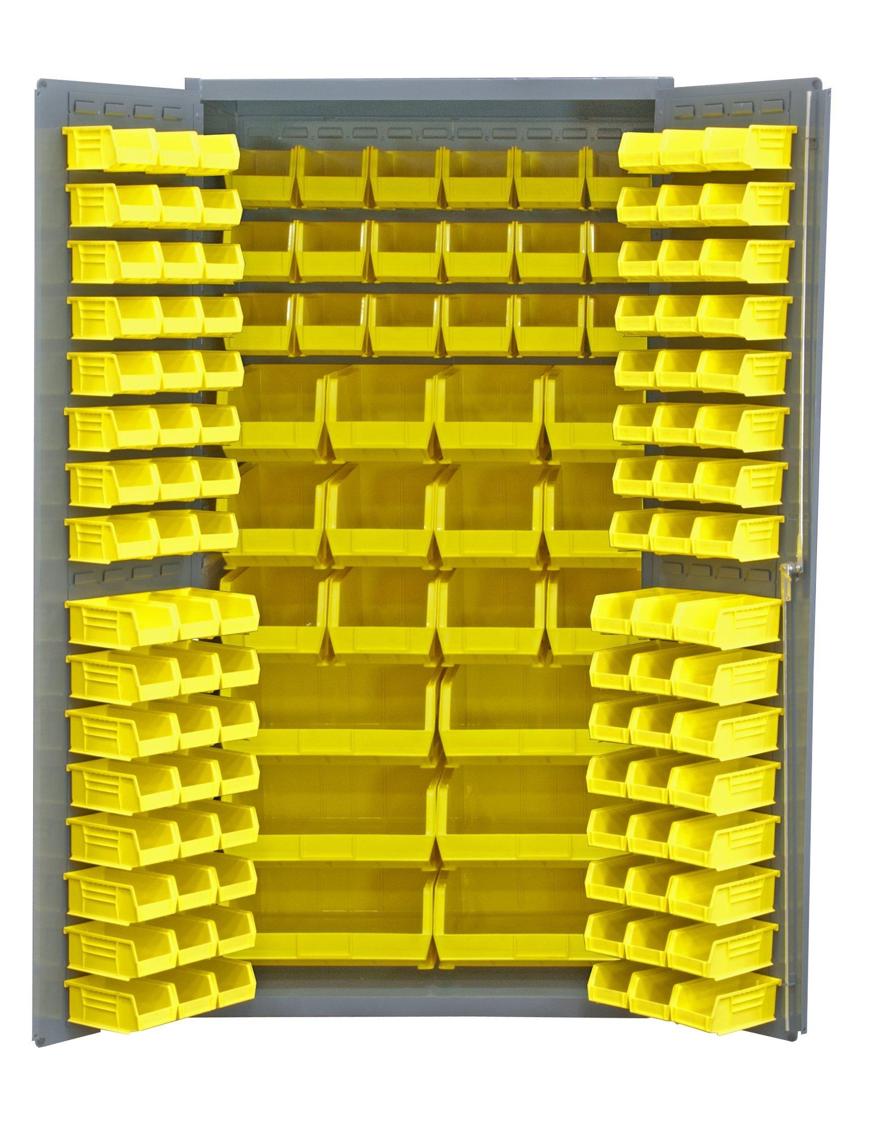 Durham 14 Gauge Welded Steel Heavy Duty Flush Door Style Storage Cabinet with 132 Bins, 3501-BDLP-132-95,  24'' Length x 36'' Width x 72'' Height