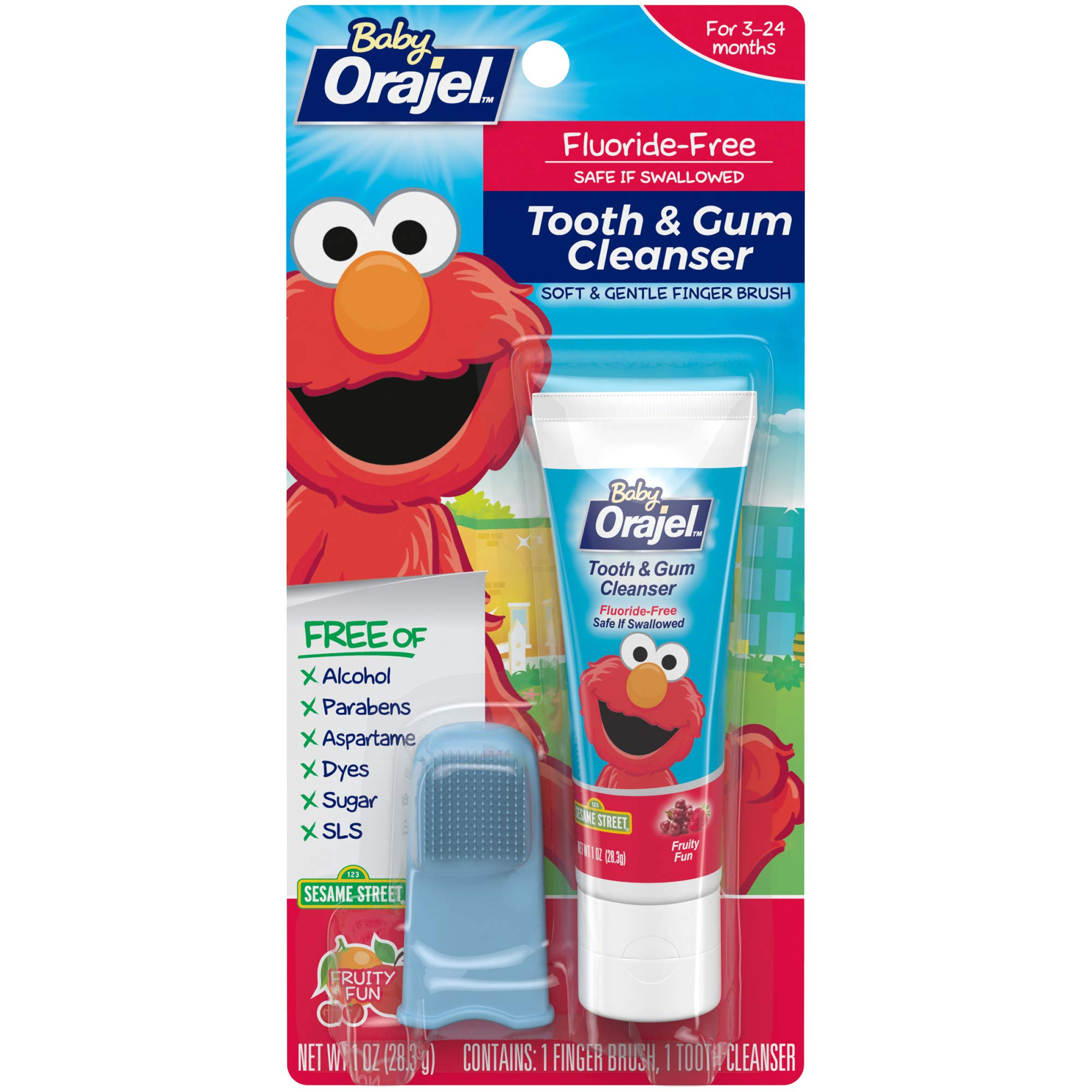 Baby Orajel Elmo Fluoride-Free Tooth & Gum Cleanser with Finger Brush, Fruity Fun, 1 oz.