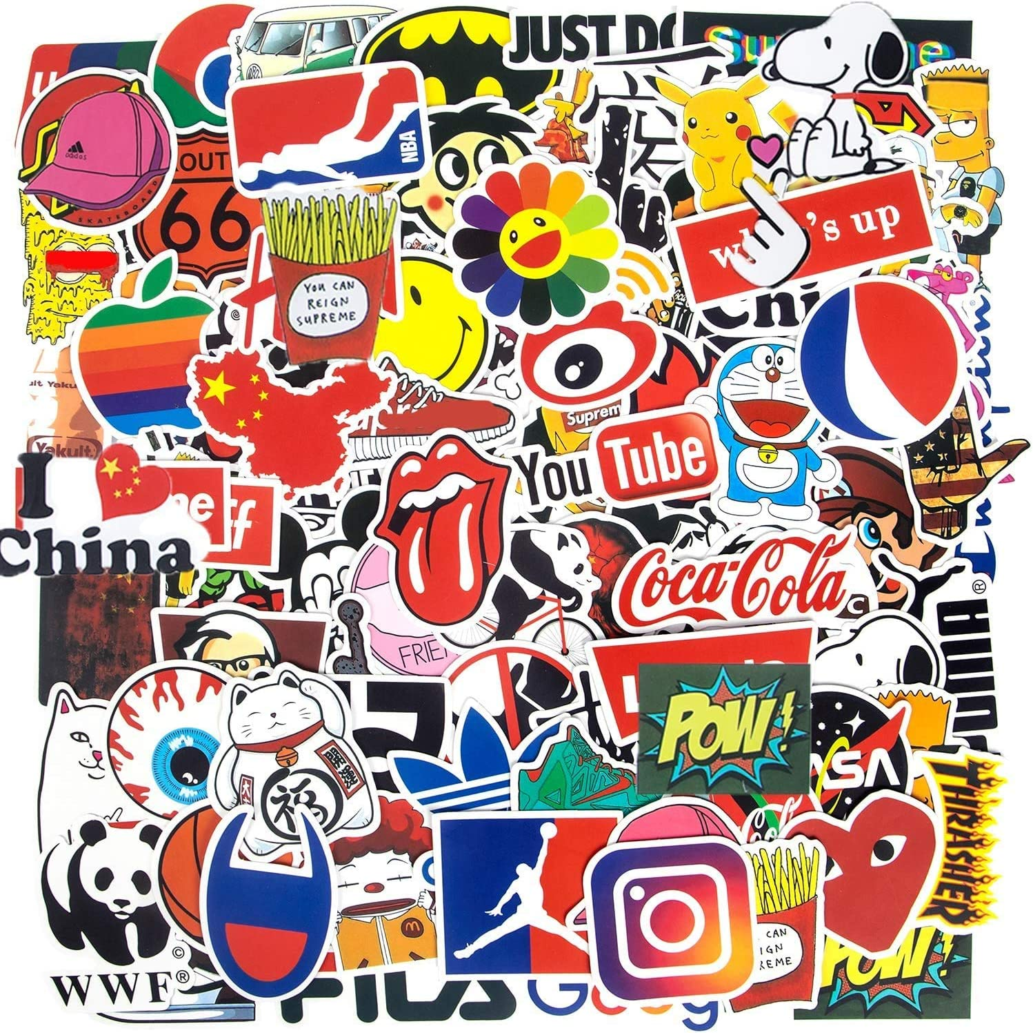 100-Pcs Cool Stickers Logo Sticker Fashion Brand Stickers Laptop Cars Punk Classic Vinyl Waterproof Graffiti, Multi Style Stickers,Teen&Adult (color7)