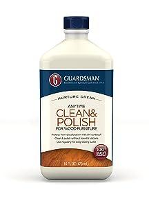 Guardsman Clean & Polish For Wood Furniture - Cream Polish 16 oz - Silicone Free, UV Protection - 461500