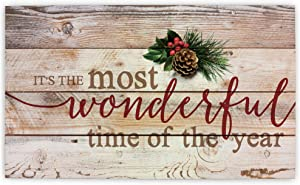 P. Graham Dunn It's The Most Wonderful Time of Year Christmas Holly 14 x 24 Wood Pallet Wall Art Sign Plaque