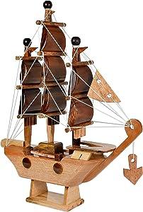 AeraVida Feng Shui Sailing Prosperity Ship Handmade Wood Home Decor Figurine