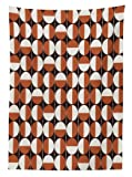 Ambesonne Mid Century Tablecloth, Repeating Bicolor