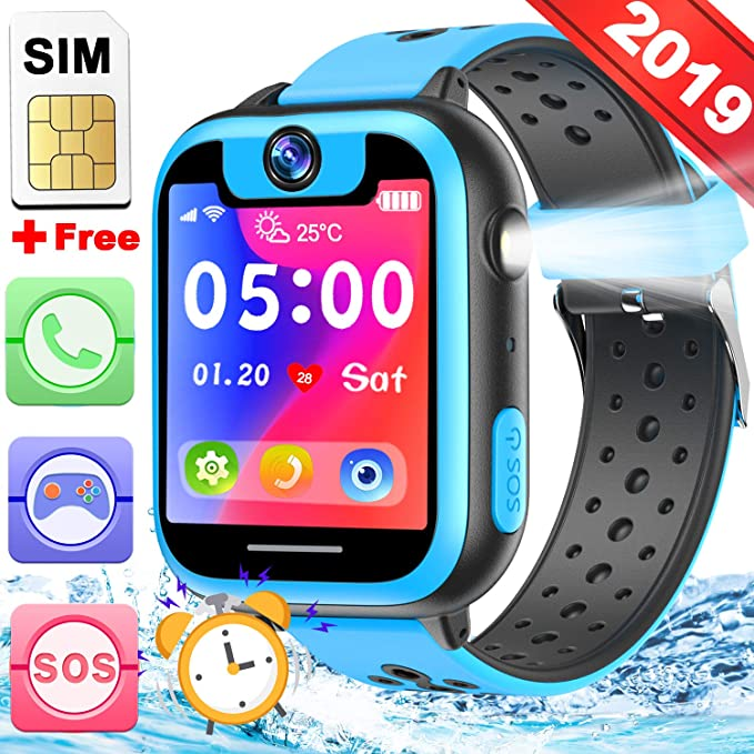 Kids Smart Watch Phone with Free SIM Card Game Watch for Boys Girls 2 Way SOS Call Camera 1.5Touch Screen Puzzle Game Pedometer Timer Alarm Clock ...