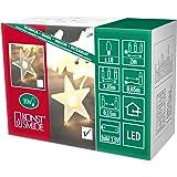 Konstsmide 1068-010 - Guirnalda LED para el árbol de navidad (estrellas esmeriladas, 10 diodos de blanco cálido, pilas 3 x AA de 1,5 V, cable transparente)